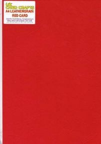 A4 Red Embossed Leather-look 250gsm Card x 5 Sheets - UKCC0234